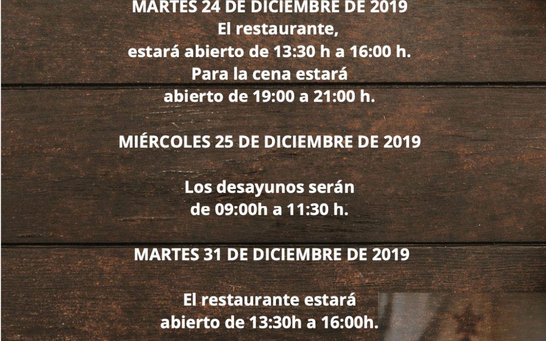 Horarios Restaurante La Condesa Navidad 2019